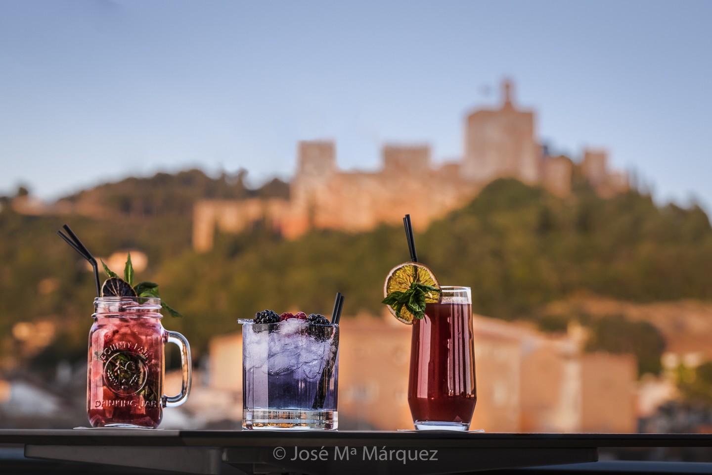 Servicio de cócteles con La Alhambra de fondo terraza Hotel Gran Vía Eurostars. Fotógrafo industrial Granada